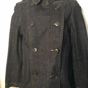 Gap Blue Denim Double Breasted Jacket